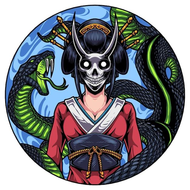 Geisha kopf maskottchen logo mit schlange Premium Vektoren