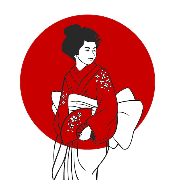 Geisha-porträt-illustration Kostenlosen Vektoren