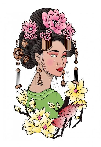 Geisha zwischen blühenden blumen und vögeln Premium Vektoren