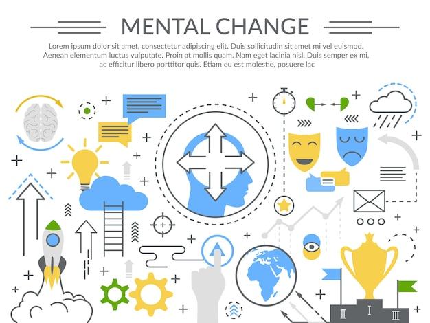 Geistesveränderungs-konzept-flache zusammensetzung Kostenlosen Vektoren