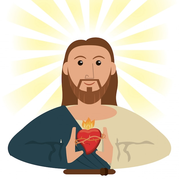 Geistiges symbol heiligen herzens jesus jesus christus Premium Vektoren
