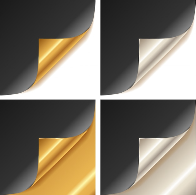 Gekräuselte goldene und silberne seitenecke Premium Vektoren