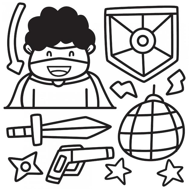 Gekritzel cartoon aufkleber hero design Premium Vektoren