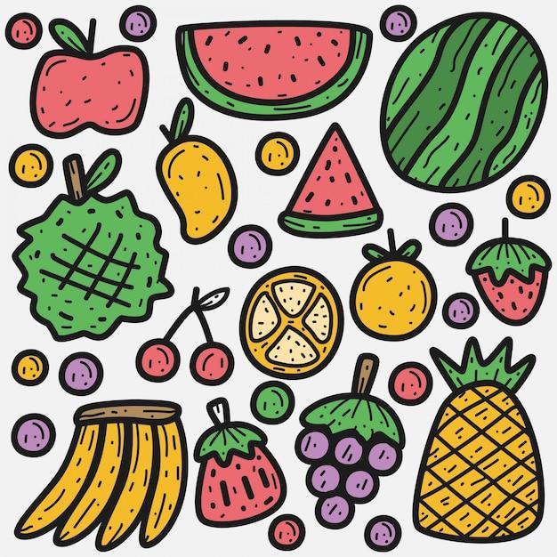 Gekritzel cartoon früchte illustration Premium Vektoren