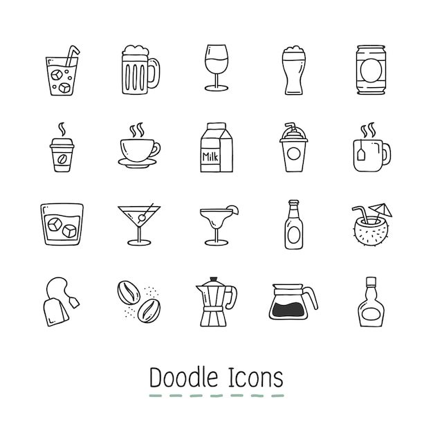 Gekritzel Getränke Icons. Kostenlose Vektoren