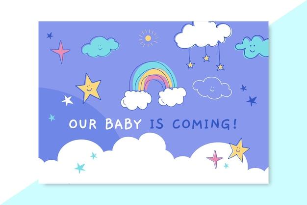 Gekritzel kindliche babykartenschablone Kostenlosen Vektoren