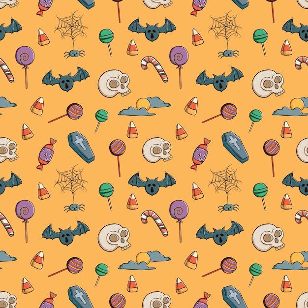 Gekritzel nahtlose muster von halloween-ikonen Premium Vektoren