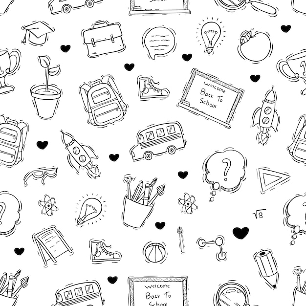 Gekritzel oder hand gezeichnete stil der schule symbole nahtlose muster Premium Vektoren