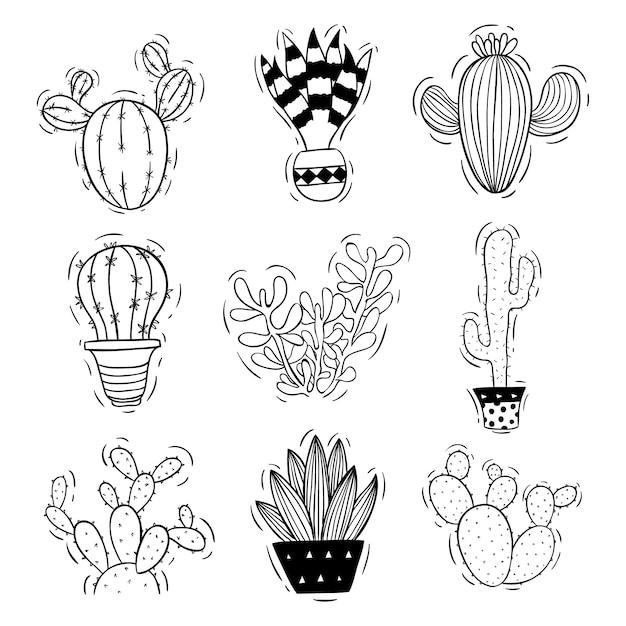 Gekritzel oder skizze stil des kaktus mit topf Premium Vektoren