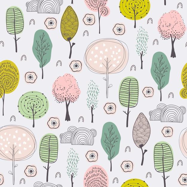 Gekritzelbäume scherzt hand gezeichnetes muster Premium Vektoren