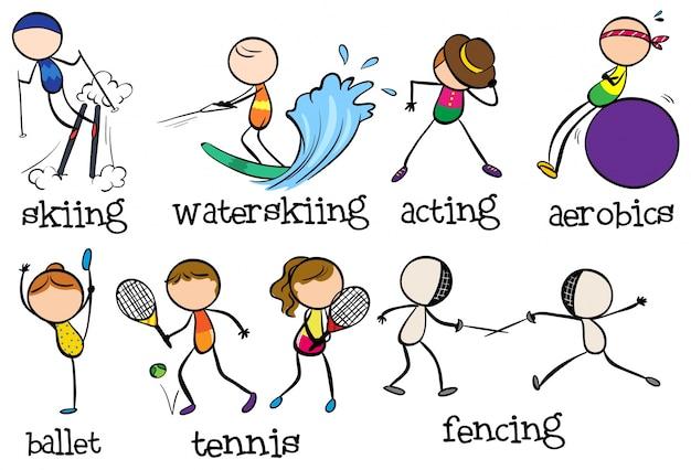 Gekritzelt verschiedene sportarten | Download der ...