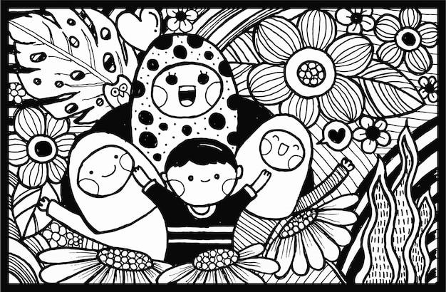 Gekritzelvektor des schwarzweiss-handabgehobenen betrages, muttertagsgrußkarte. abbildung mit mutter und kind mit blume. Premium Vektoren