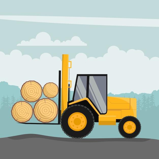 Geländegabelstapler-design zum laden von baumstämmen Premium Vektoren