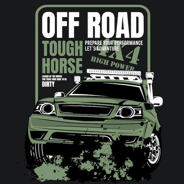 Geländegängiges starkes pferd, plakat des 4wd vorteilautos Premium Vektoren
