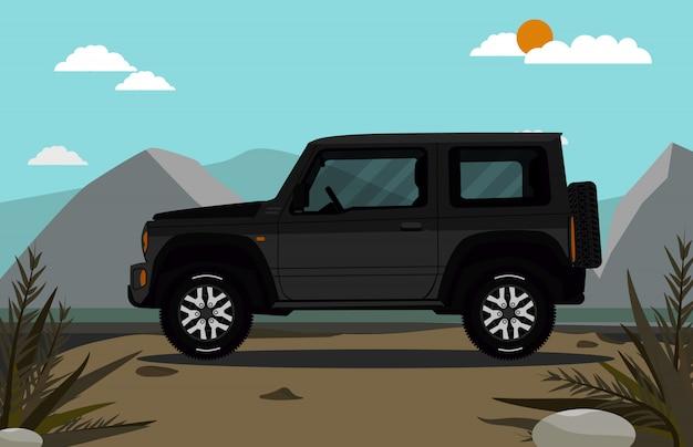 Geländewagen auf dem berg Premium Vektoren