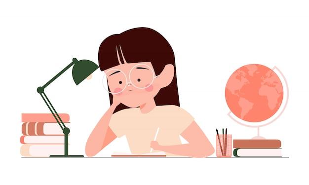 Gelangweiltes kind, das hausaufgaben macht oder auf langweiliger schulstunde sitzt. müde und traurige studentin mädchen illustration. zurück zum schulkonzept Premium Vektoren