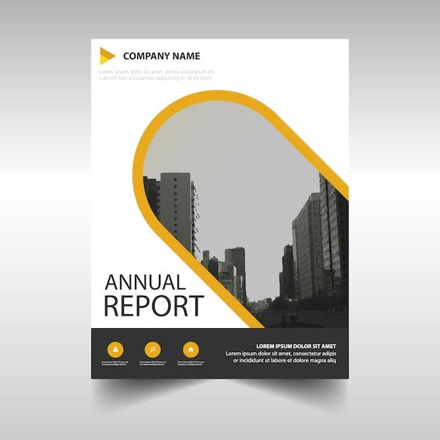 Gelb kreative Jahresbericht Bucheinband Vorlage Kostenlose Vektoren