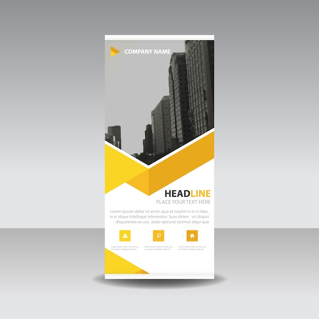 Gelb kreative Roll up Banner Vorlage Kostenlose Vektoren