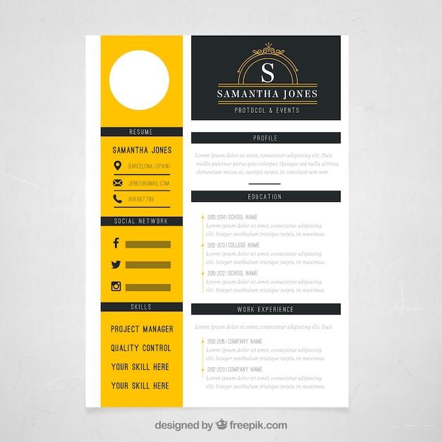 Gelb Lebenslauf Vorlage | Download der kostenlosen Vektor
