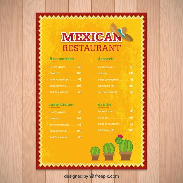 Atemberaubend Mexikanische Restaurant Menüvorlagen Bilder ...