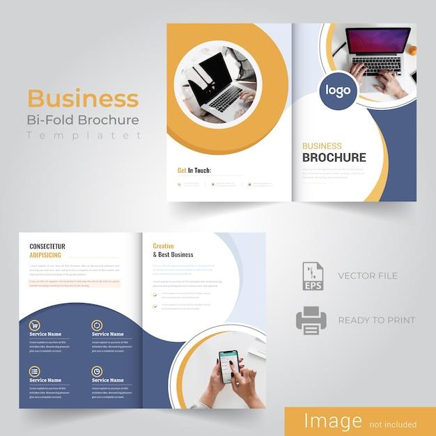 Gelbe abstrakte bifold broschüre design Premium Vektoren