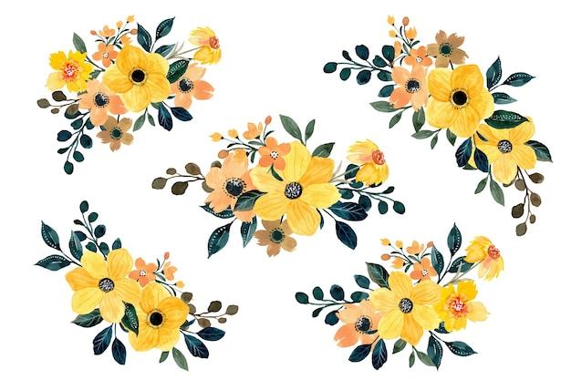 Gelbe blumenstraußkollektion mit aquarell Premium Vektoren