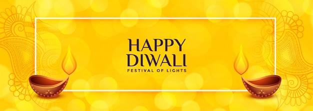 Gelbe diwali-fahne mit zwei diya Kostenlosen Vektoren