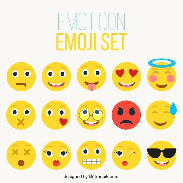 Gelbe emoticons sammlung Kostenlosen Vektoren