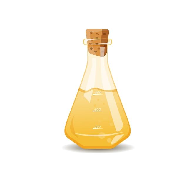 Gelbe flüssigkeit in der flasche Kostenlosen Vektoren