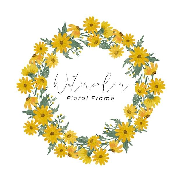 Gelbe gänseblümchenblumenaquarellrahmen-entwurfshandzeichnung mit gelber blumenfarbe und grüner blattfarbe Premium Vektoren