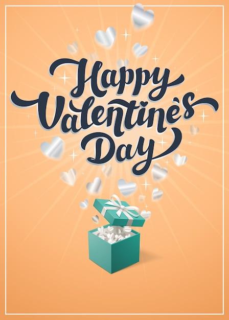 Gelbe grußtextillustration des glücklichen valentinstags Premium Vektoren