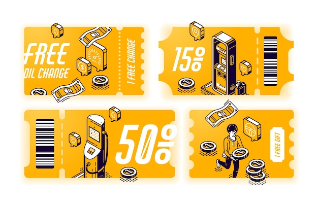 Gelbe gutscheine für kostenlosen ölwechsel, gutscheine mit geschenk oder rabatt für den autoservice. zertifikatsatz mit isometrischer darstellung der tankstelle. tickets mit angebot zur fahrzeugwartung Kostenlosen Vektoren