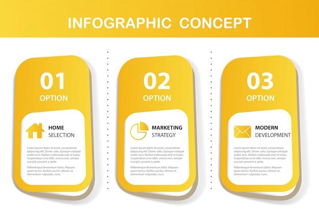 Gelbe infografik-präsentation Kostenlosen Vektoren