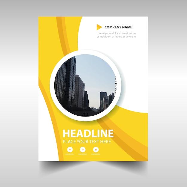 Gelbe kreative jahresbericht buchumschlag vorlage Kostenlosen Vektoren