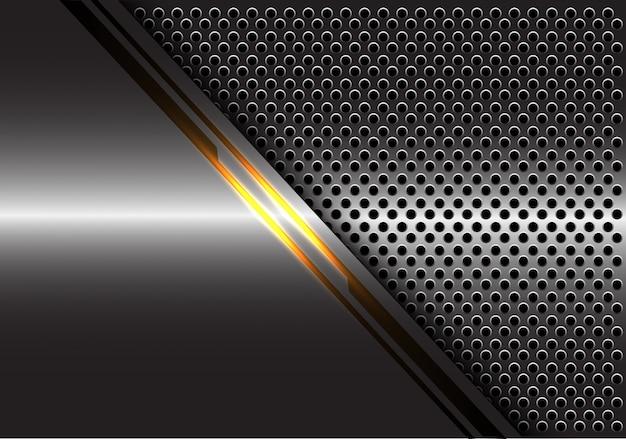 Gelbe lichtlinie energie auf grauem metallkreis-maschenhintergrund. Premium Vektoren