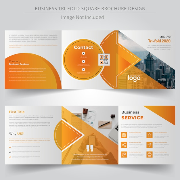 Gelbe quadratische dreifachgefaltete broschüre Premium Vektoren