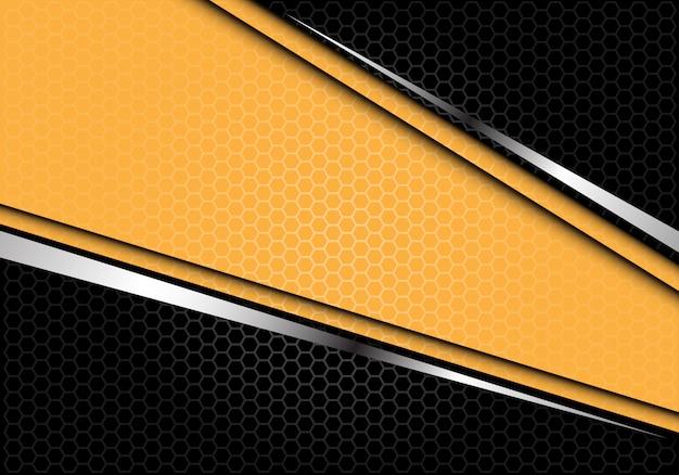 Gelbe silberne linie futuristischer hintergrund der schwarzen hexagonmasche. Premium Vektoren