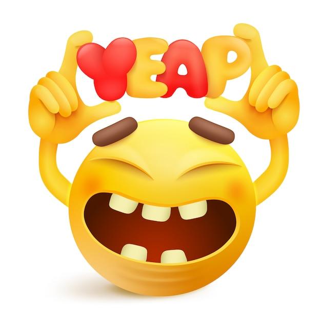 Gelbe smiley emoticonzeichentrickfilm-figur mit yeap titel. Premium Vektoren
