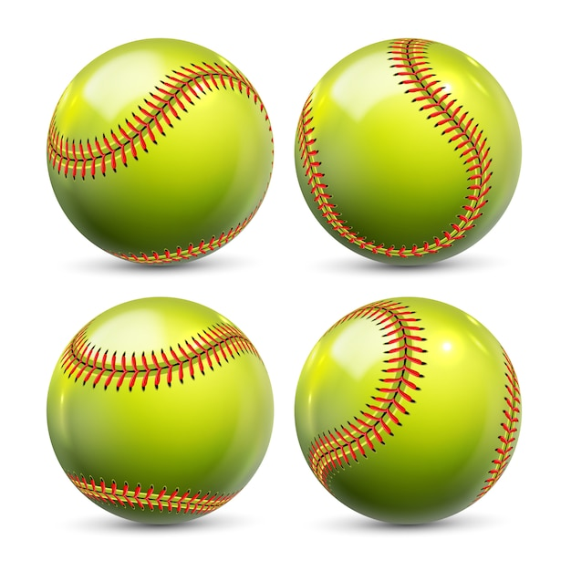 Gelbe softballausrüstung des baseball-satzes Premium Vektoren