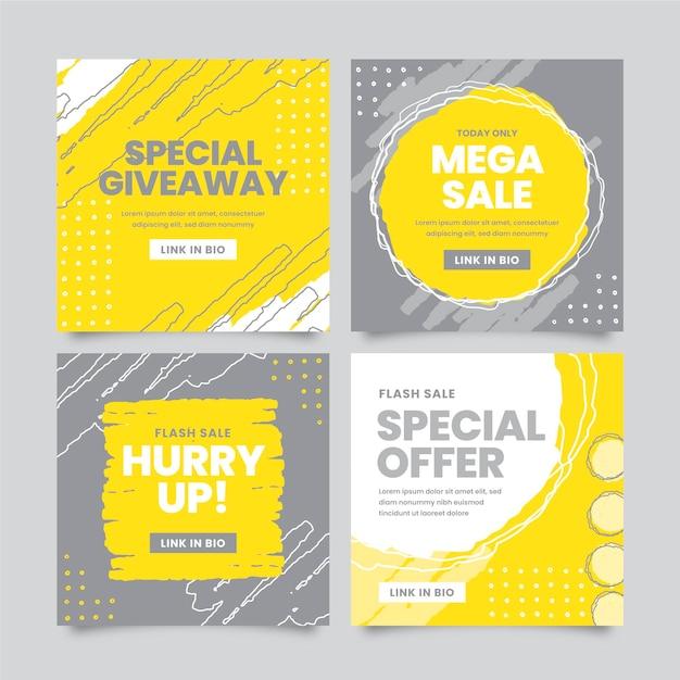 Gelbe und graue instagram-beitragsvorlage Kostenlosen Vektoren