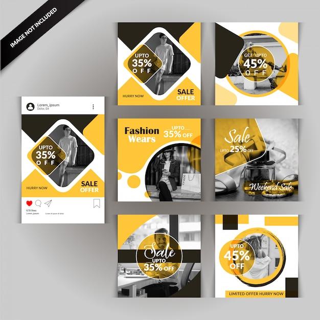 Gelbe und graue mode-social media-verkaufs-fahne Premium Vektoren