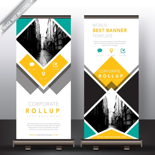 Gelbe und grüne roll-up-banner Kostenlosen Vektoren