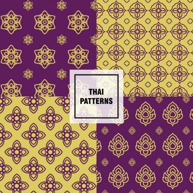 Gelbe und lila thai-muster Kostenlosen Vektoren
