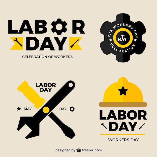 Gelbe und schwarze aufkleber für tag der arbeit Kostenlosen Vektoren