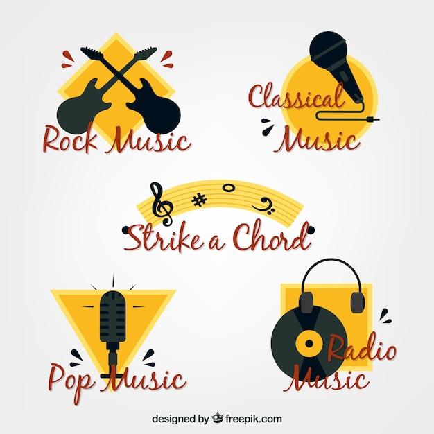 Gelbe und schwarze aufkleber musik Kostenlosen Vektoren