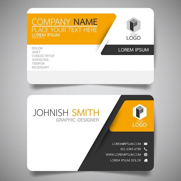Gelbe und schwarze layout-visitenkarte vorlage. Premium Vektoren