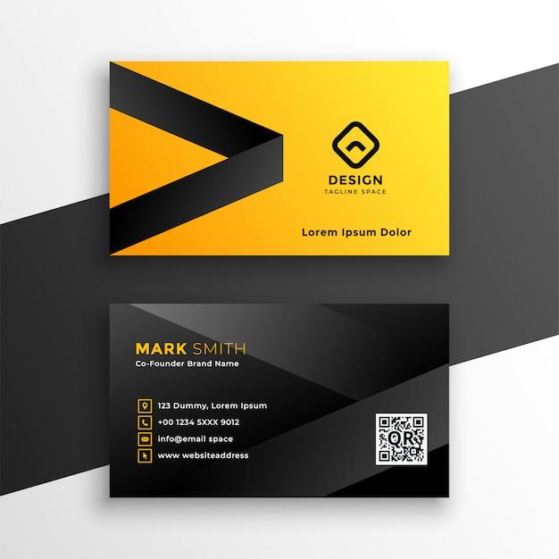 Gelbe und schwarze moderne visitenkarte Kostenlosen Vektoren