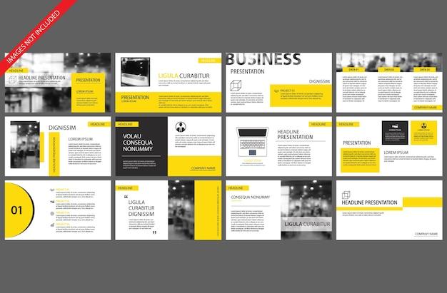 Gelbe vorlage für powerpoint-folienpräsentation Premium Vektoren