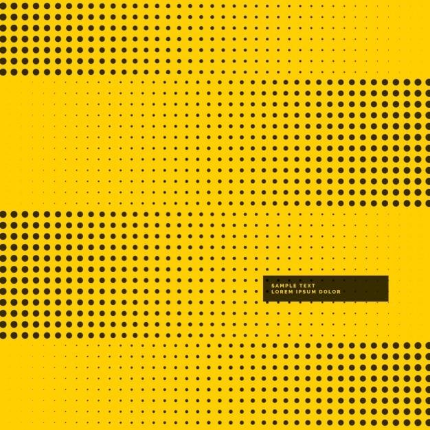 Gelben hintergrund mit schwarzen rasterpunkten Kostenlosen Vektoren