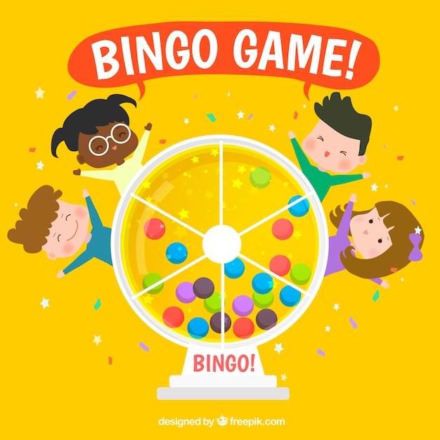 Gelber bingo hintergrund mit kindern Kostenlosen Vektoren